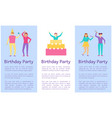 birthday party text sample vector image vector image