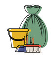 bucket and dustpan and broom and garbage bag in vector image vector image
