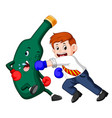 businessman boxing with beer bottle vector image