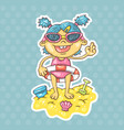 cartoon girl on beach vector image vector image