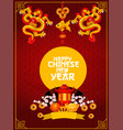 chinese new year poster with oriental pagoda vector image vector image