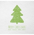 Christmas greeting paper card with hand drawn vector image