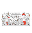 coffee concept flat line art vector image vector image
