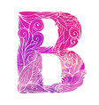 coloring freehand drawing capital letter b vector image