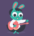 Cute Bunny Girl Tuning Acoustic Guitar vector image vector image