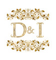 D and i vintage initials logo symbol the letters vector image