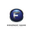 f 3d circle chrome letter logo icon design vector image vector image