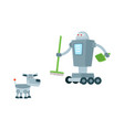 flat robots set isolated vector image vector image