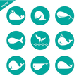 group whale in circle vector image vector image