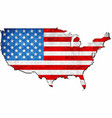grunge usa map with flag inside vector image vector image