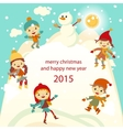 Happy kids playing with snow retro christmas card vector image vector image