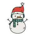 happy snowman with hat and scarf celebration merry vector image