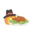 happy thanksgiving day baked turkey pumpkin with vector image
