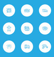 holiday icons line style set with christmas wreath vector image