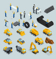 isometric icons for construction workers vector image vector image