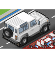 Isometric White Cross Country Vehicle in Rear View vector image