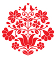 Kalocsai red embroidery - Hungarian floral pattern vector image vector image