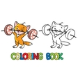 Kitten-athlete lifts the bar Coloring book vector image