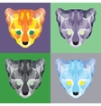 Low poly ocelots set vector image