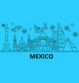 mexico city winter holidays skyline merry vector image vector image