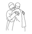muslim men hugging each other vector image vector image