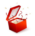 open red gift box with confetti and ribbons vector image vector image
