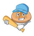 playing baseball hot cross buns on cutting cartoon vector image