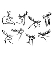 proud profile deer in outline style vector image
