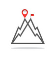 reaching mountain top symbol with mountains vector image vector image