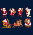 santa with gift bag bell reindeer sleigh icons vector image