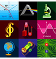 science research icons set flat style vector image