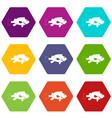 sea bass fish icon set color hexahedron vector image vector image