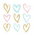set 9 decorative hearts vector image