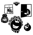 Set cheerful little men Collection of cartoon vector image