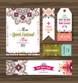 set geometric boho colorful flyers vector image