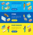 supermarket or shop banner horizontal set vector image vector image