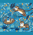 tropical seamless pattern with funny tigers vector image vector image