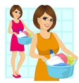 woman holding a laundry basket vector image vector image