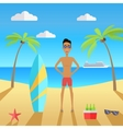 Man on Beach with Sand and Palm vector image