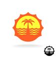 Sunset sea waves and palm silhouette tropical vector image
