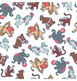 seamless pattern circus people animals elements vector image