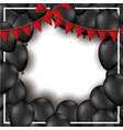 background with red festoons and black balloons in vector image