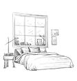 Bedroom modern interior sketch vector image vector image