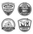 black vintage circus emblems set vector image vector image
