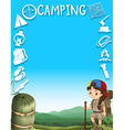 Border design with girl camping out vector image vector image
