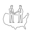 businessmen make a deal on usa outline vector image vector image