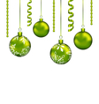 Christmas balls with streamer and copy space for vector image vector image