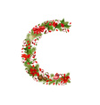 christmas floral tree letter C vector image vector image