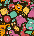Colorful Seamless Pattern With Funny Monsters vector image vector image