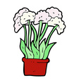 comic cartoon flowers in pot vector image vector image